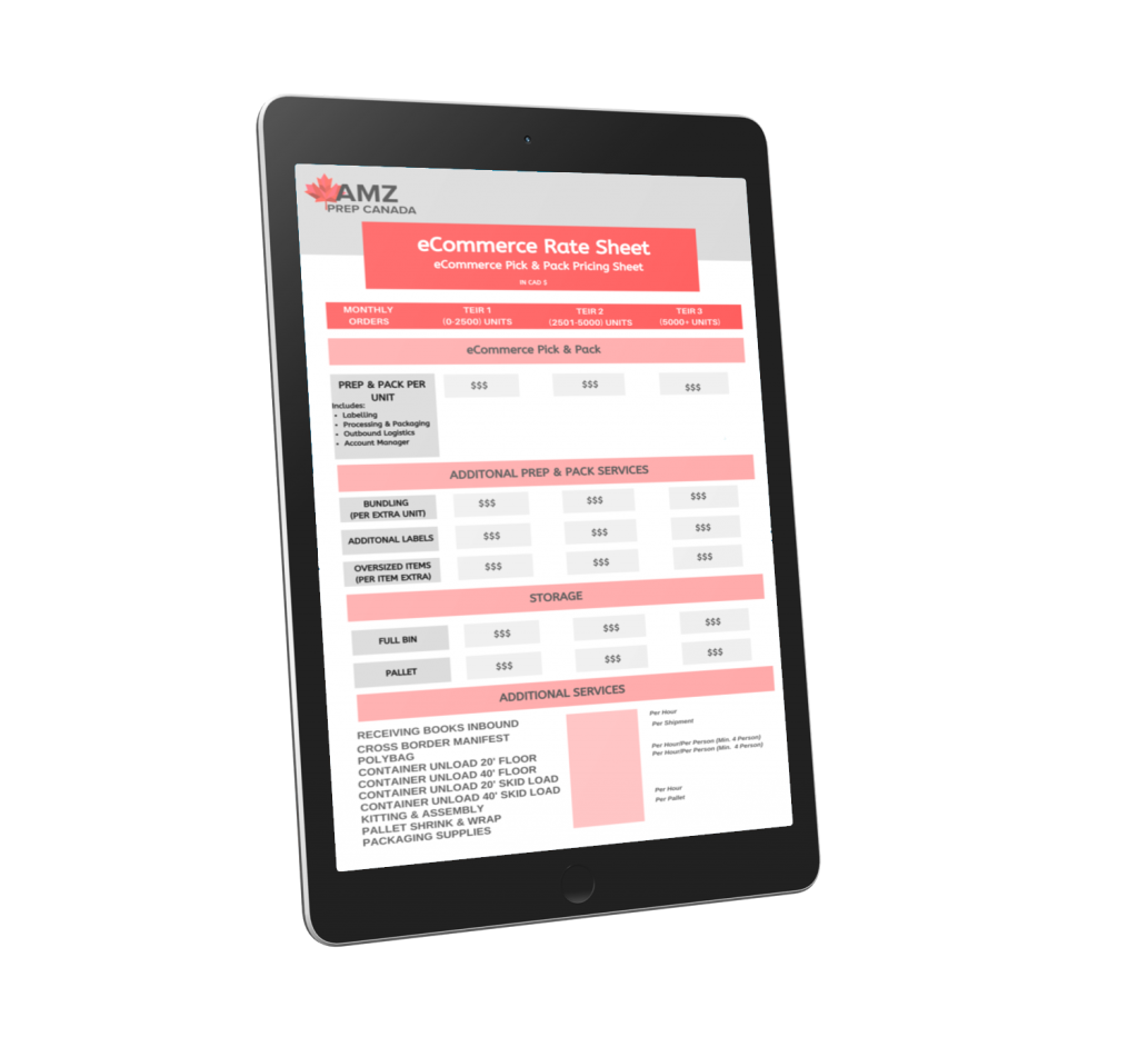 eCommerce Ipad Rate Sheet